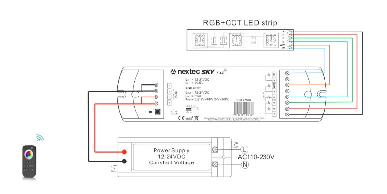 Pilot do taśm LED RGBW+CCT 4 strefowy NC